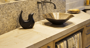 limestone bathroom counter